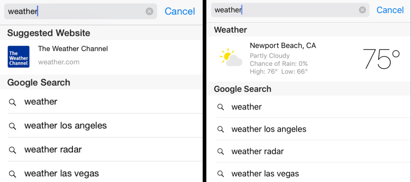 weather ios 8 v ios 9