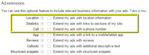The Standard setting limits your Ad extensions options.