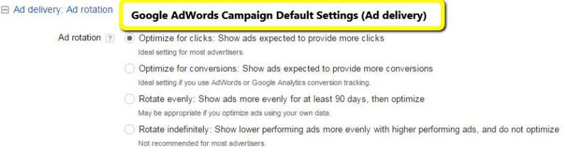 The default setting is optimize for clicks.