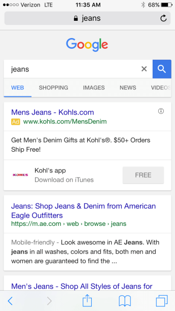 mobile search ad disclosures Google
