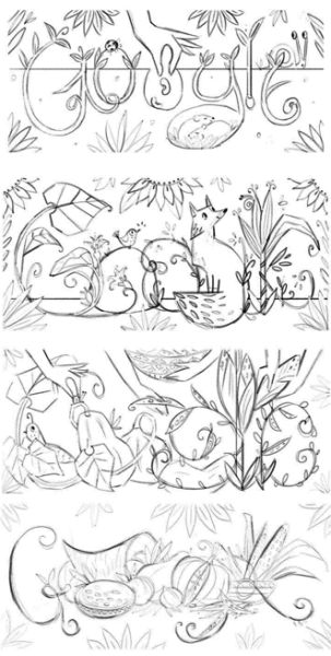 Google thanksgiving doodle sketches