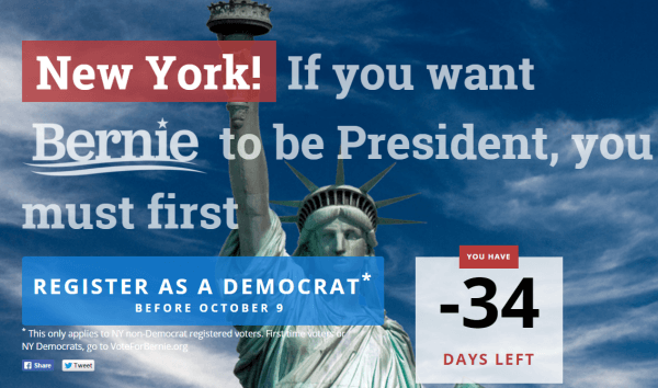 Screenshot of Bernie Sanders New York site.