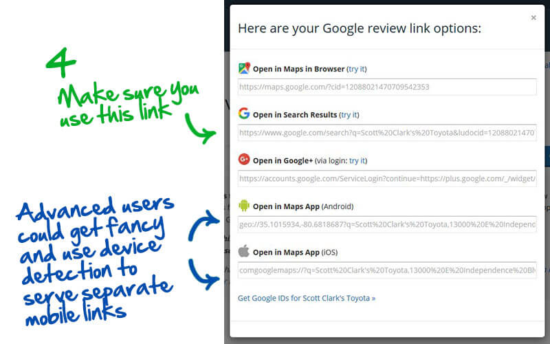 how to get a link for Google reviews