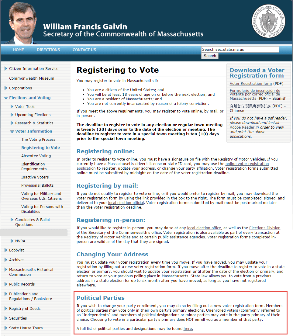 Massachusetts voter registration page screenshot