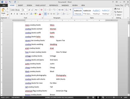Word keyword list