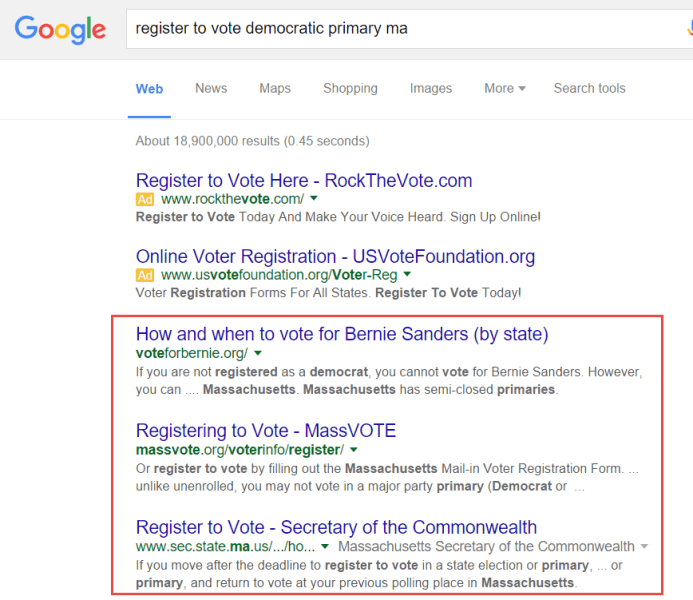 Screenshot of the search result for register to vote democratic primary ma