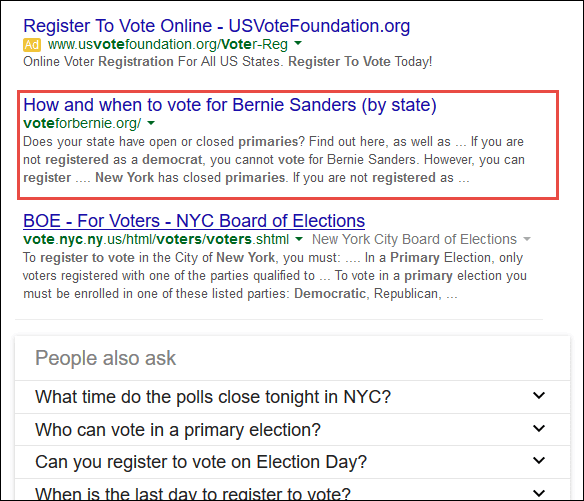 Screenshot of the search result for register to vote democratic primary ny