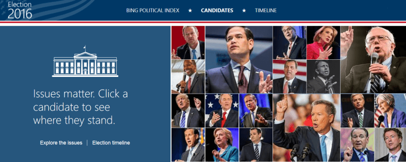Bing elections search