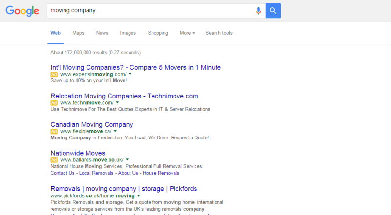 four text ads in google search results