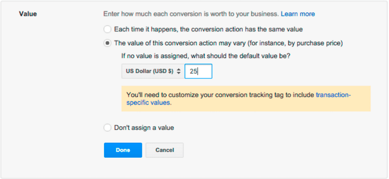 updating conversion value in adwords