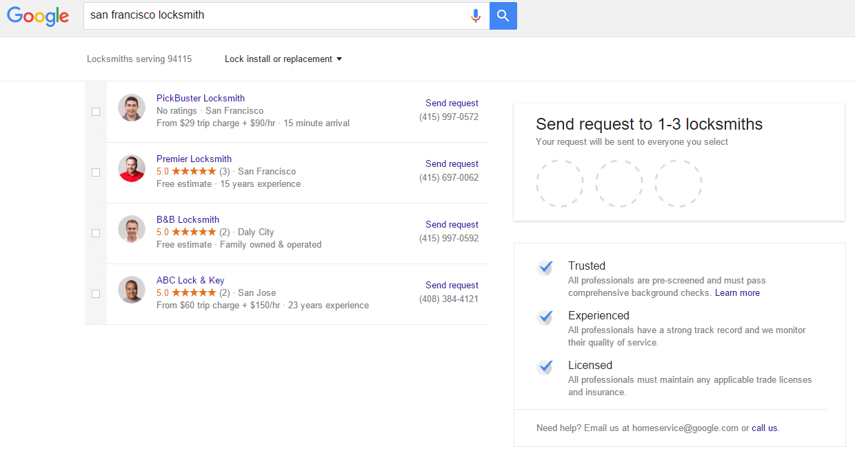home services ads submission page google