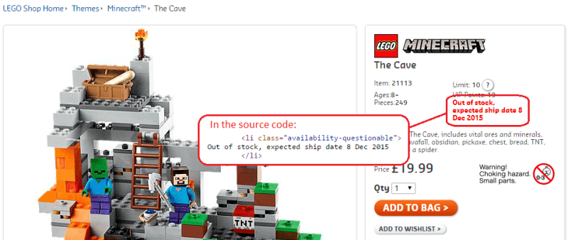 lego out of stock