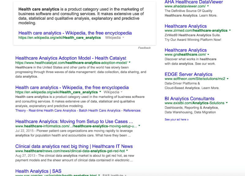 health-care-analytics-SERP-screenshot
