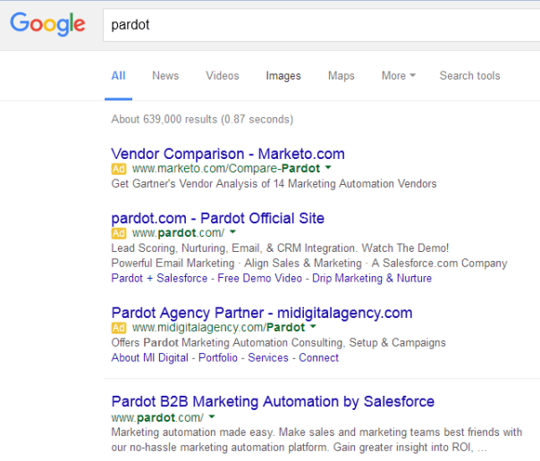 Marketo outranking Pardot for branded search -cropped