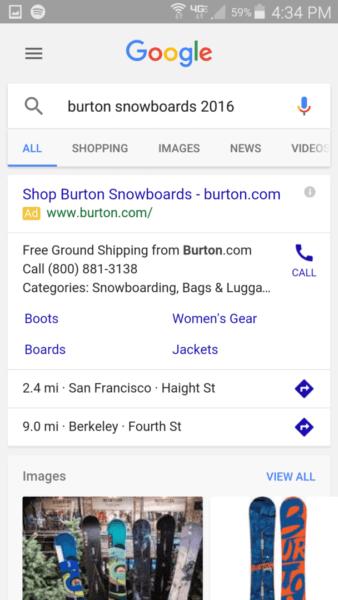 Mobile search - Burton snowboards - one ad