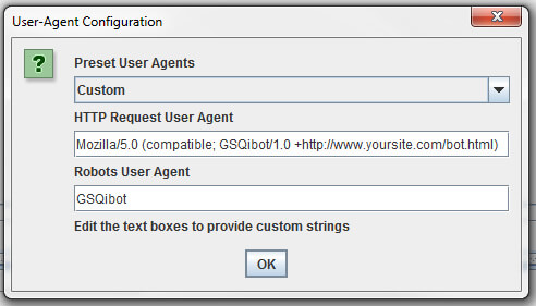 How to set up a custom user agent in Screaming Frog.