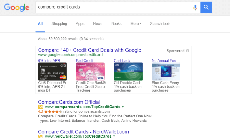 google compare credit cards