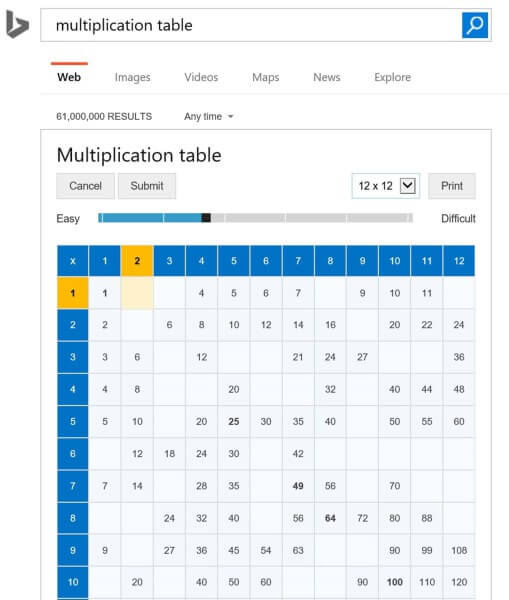 Bing multiplication table
