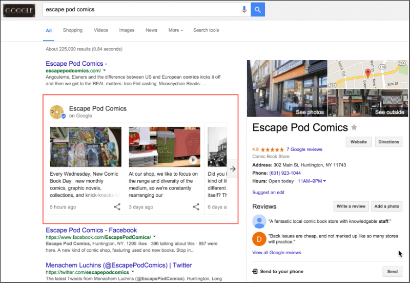 Business Name Query w Google Posts