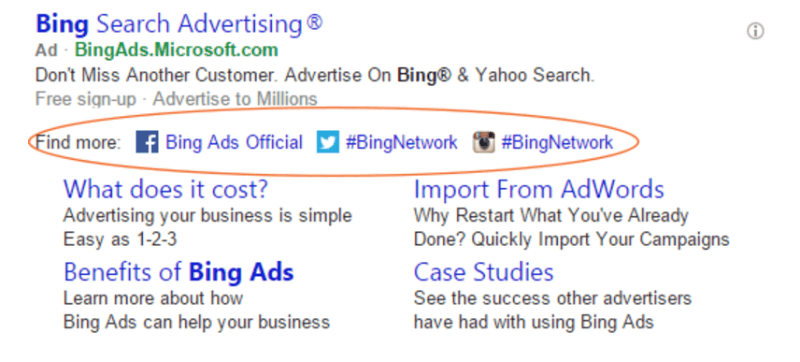 bing ads social extensions