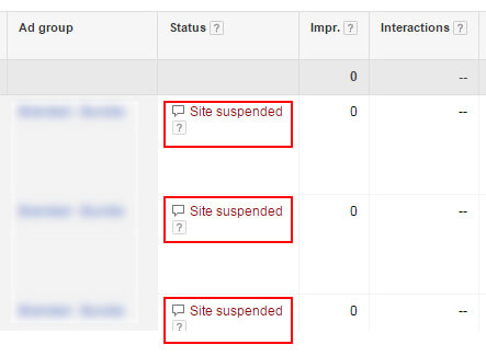 AdWords Site Suspended