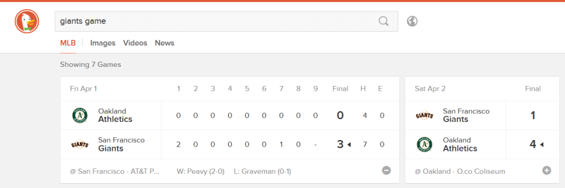 DuckDuckGo expanded MLB instant answer
