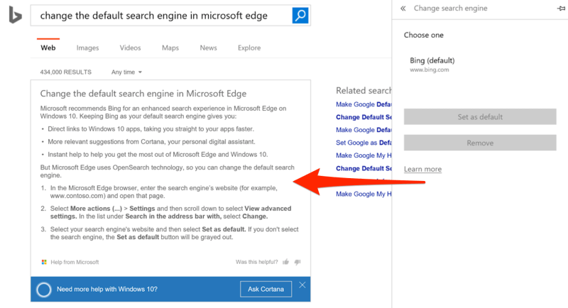 trying to change your search default in edge