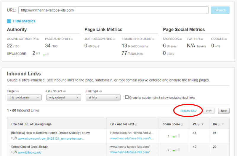 Exporting backlink data from Moz's Site Explorer.