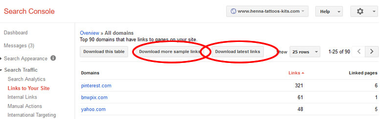 Downloading backlinks from Search Console