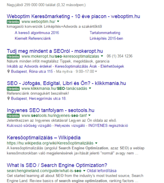 google green ad labels in hungary serp