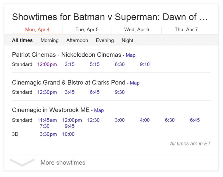 google desktop movie listings