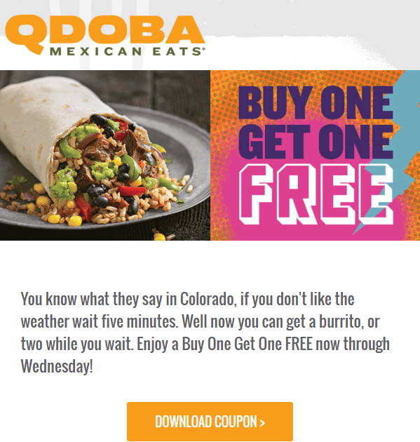 Email Personalization Example - Qdoba