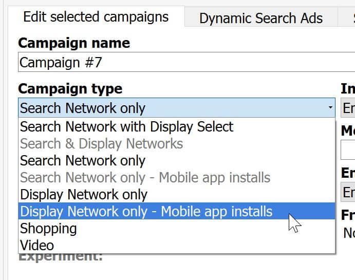 adwords editor display app install campaigns