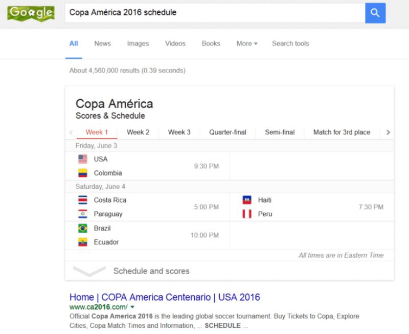 Copa America search