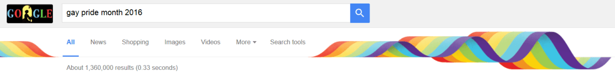 Gay Pride 2016 Google banner