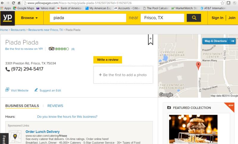 YP.com listing for Piada