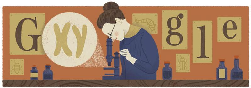 google-logo-nettie-stevens-155th-birthday
