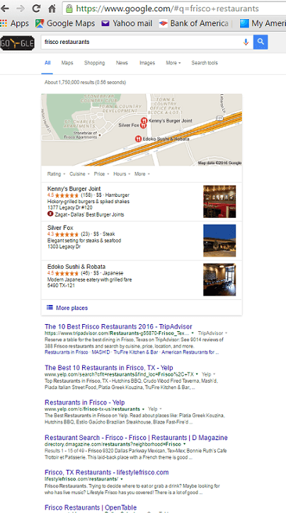 Google search for Frisco restaurants