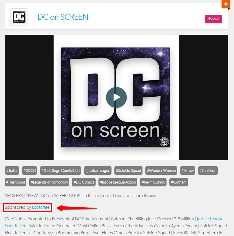 Loot Crate Sponsorship DC On Screen