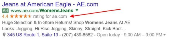 AdWords Seller Ratings extensions show automatically in ads when certain criteria are met.