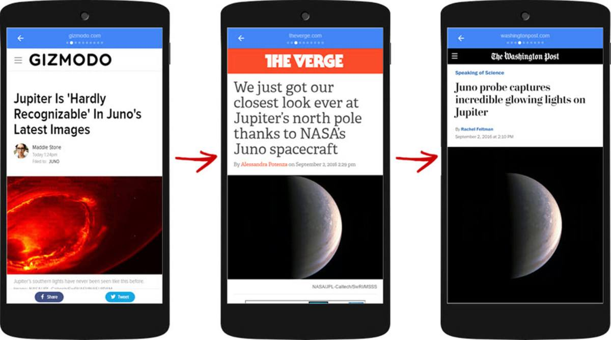Users swipe through content from multiple publishers in Google's Top Stories AMP viewer.
