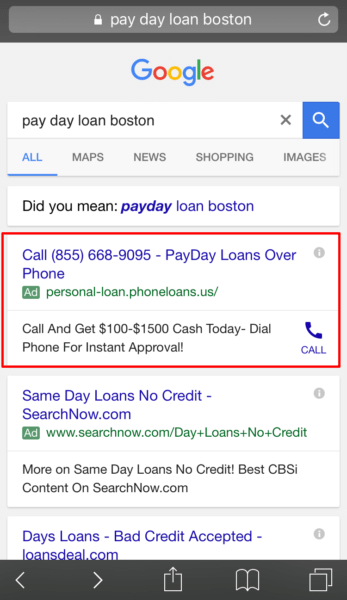 This call-only ad from personal-loan.phoneloans.com connects to a CashNetUSA call center.