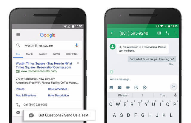 google adwords message extension in search ads