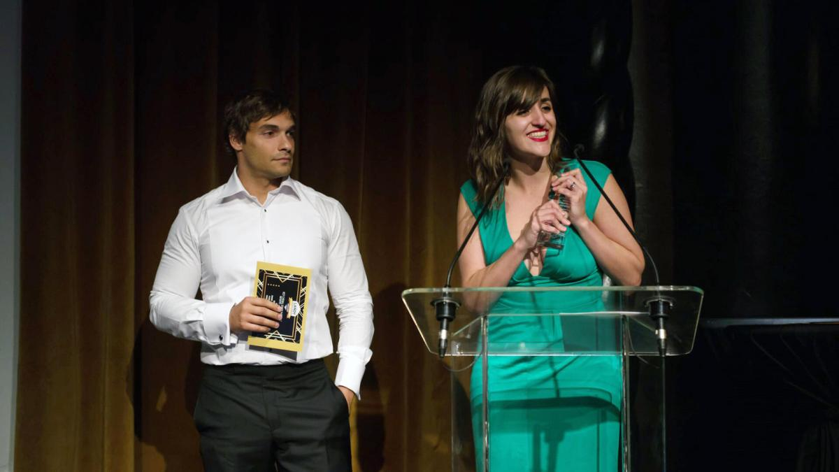 Todd Silverstein and Alyssa Esker of Edelman accept the Landy for Best Overall Search Marketing Initiative.