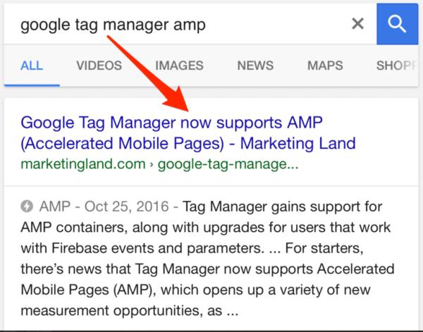 google amp example listing