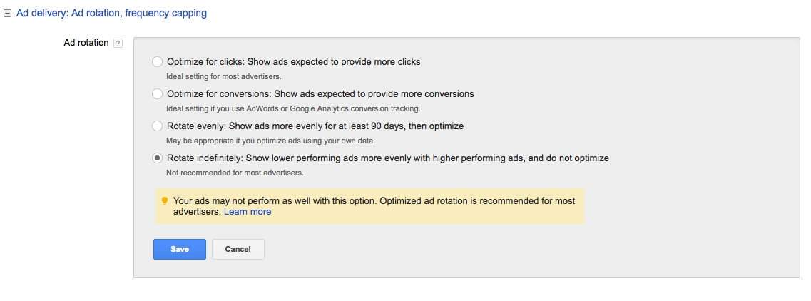 Ad Rotation Setting in AdWords