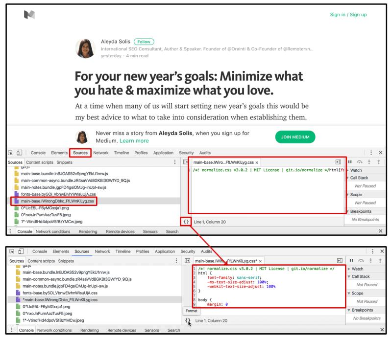 PrettyPrint Chrome DevTools