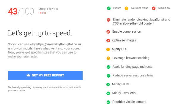 page speed report for mobile site