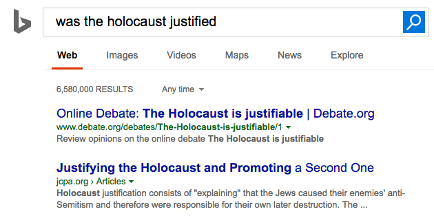bing holocaust justified