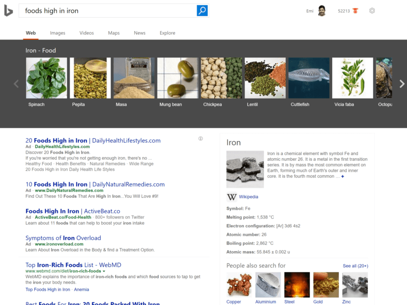 bing-nutrient-specific-search